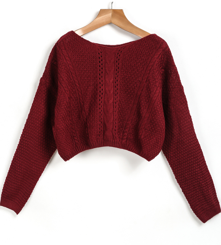 ... cable knit crop red sweater ... fxrmdka