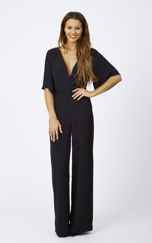 ... fluted sleeve wide leg jumpsuit by lilah rose ... xscxyzr
