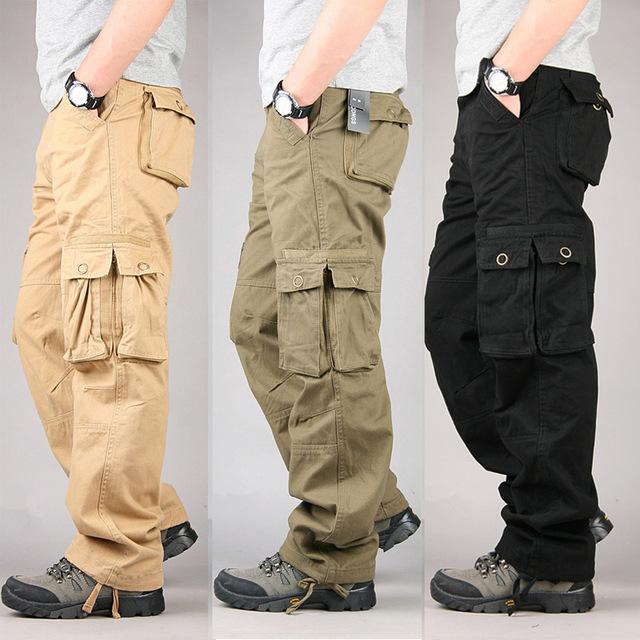 100% cotton durable multi pocket loose baggy cargo pants men military style srnoyqy