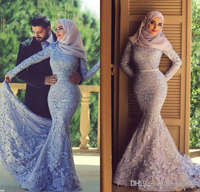 2015 muslim lace mermaid prom dresses applique beads long sleeves high  neckline ttpafqw