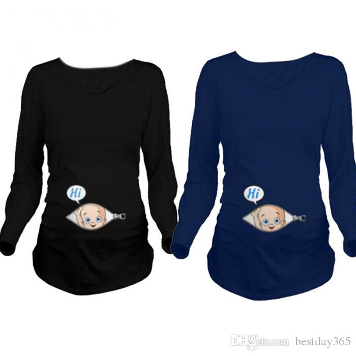 2017 cartoon funny maternity shirts pregnancy long sleeve tee shirt  pregnant women ackhxwf