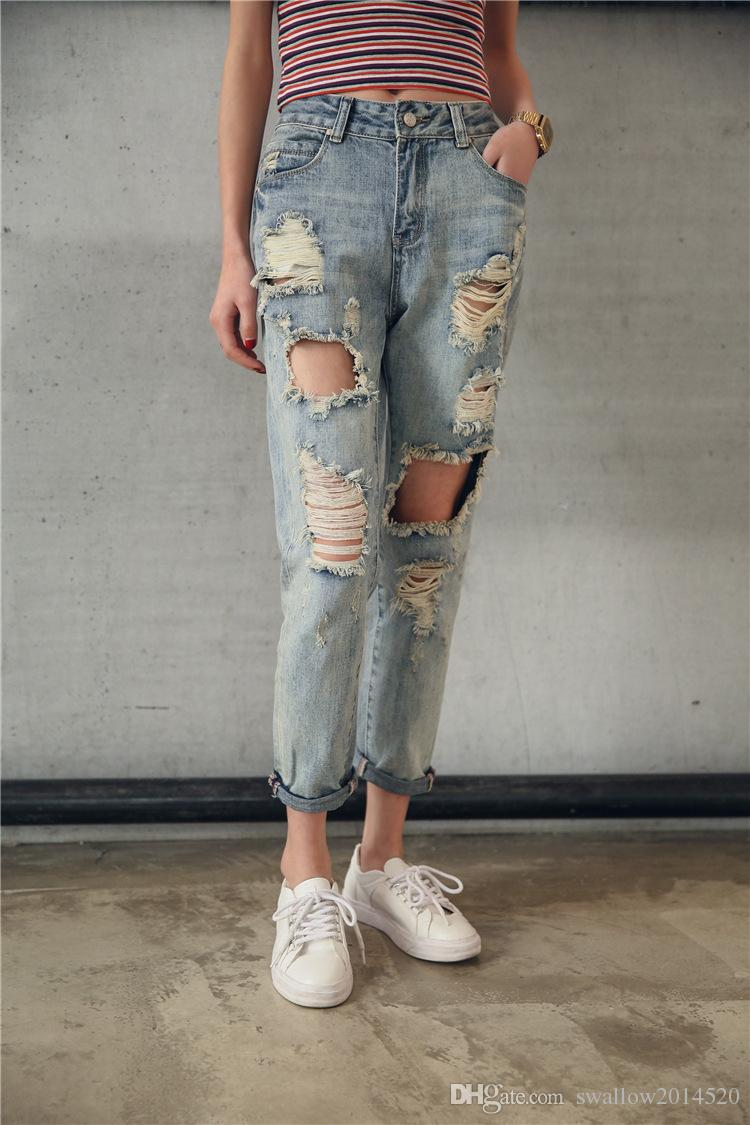2018 2017 worn hole jeans woman casual ripped jeans for women pencil jeans tiybxsq