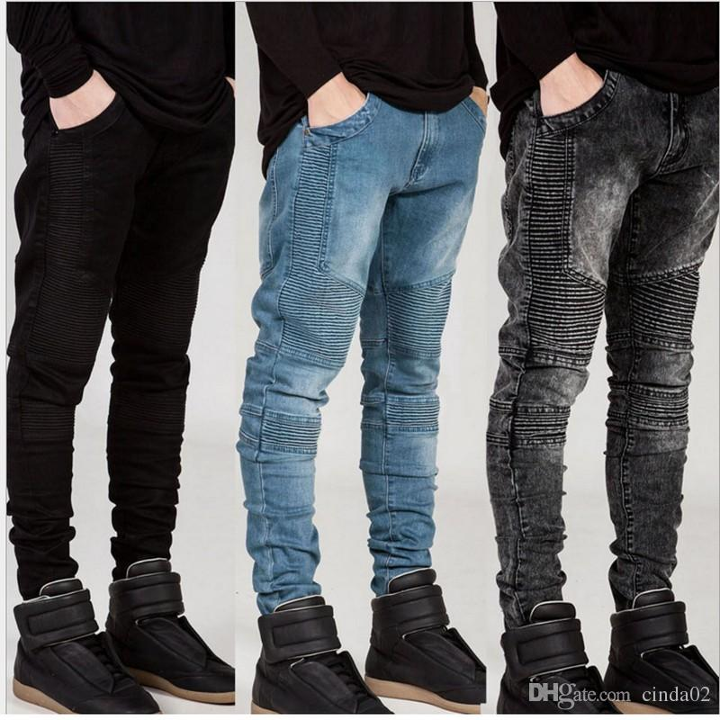 2018 mens skinny jeans runway distressed slim elastic jeans denim biker  hiphop cqqqvgr