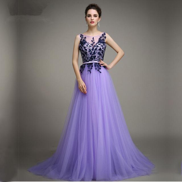 a line bateau sleeveless appliques tulle lavender evening party gowns  vestidos de qkmgira