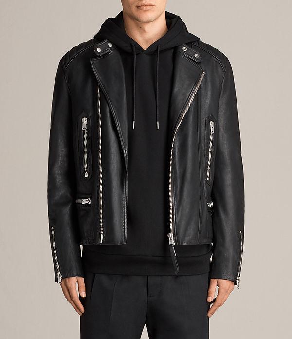 allsaints us: mens lark leather jacket (black) vndghum