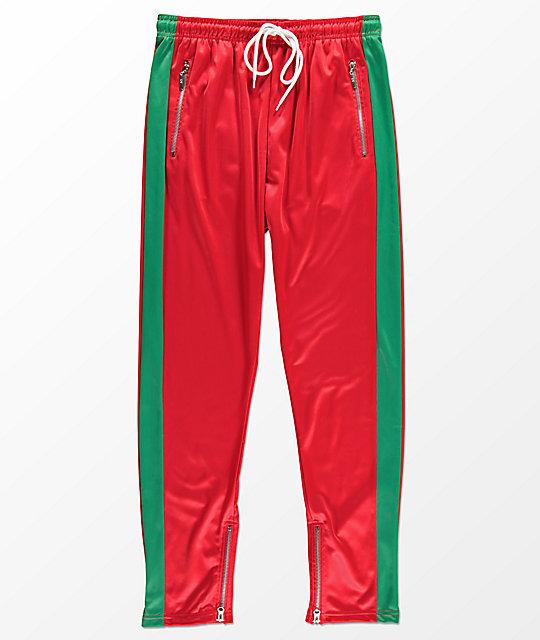 american stitch red u0026 green tricot track pants ... rvwxglk