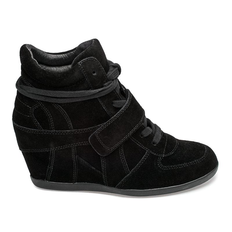 ash sneakers ash bowie womens wedge sneaker black suede 360287 (964) fejqtsh