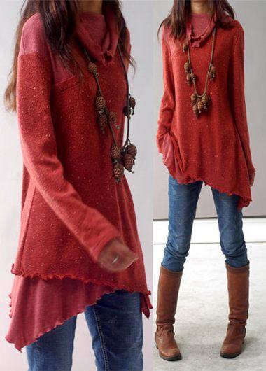 asymmetric hem long sleeve red blouse zbgpxxc