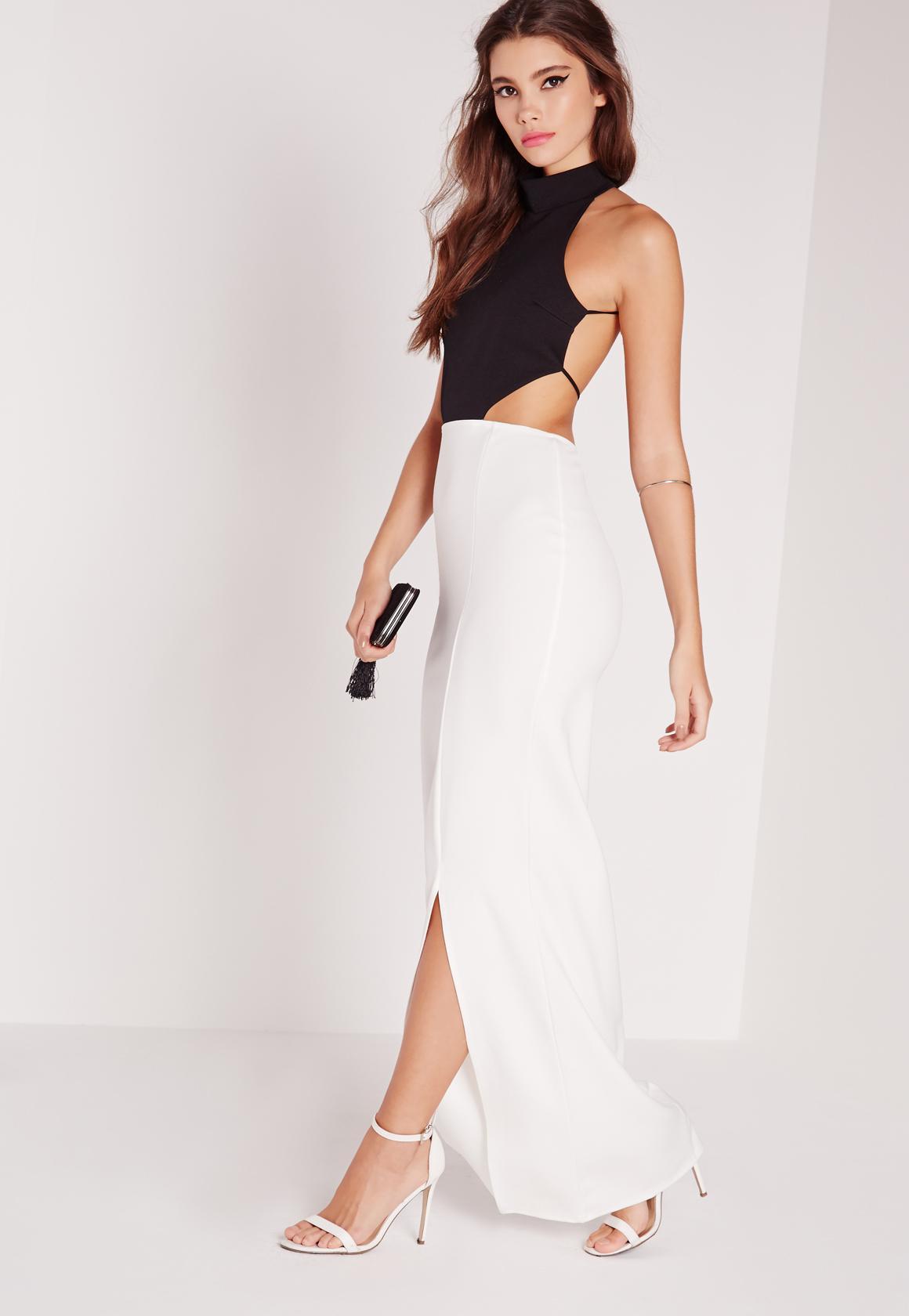 backless maxi dress monochrome hvtecka
