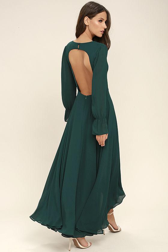 backless maxi dress stunning forest green maxi dress - backless maxi - long sleeve maxi - jlbytsb