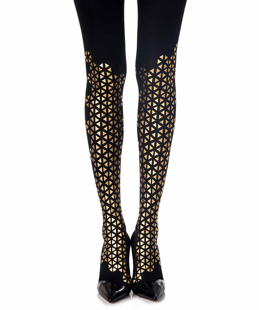 Wearing patterned tights which would help make your legs look beautiful