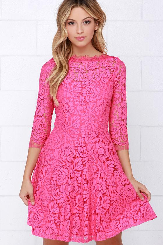 beautiful lace dress - pink dress - skater dress - $64.00 uxxvols