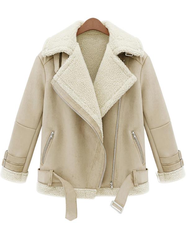 beige lapel long sleeve zipper wool coat -shein(sheinside) arbkvqg