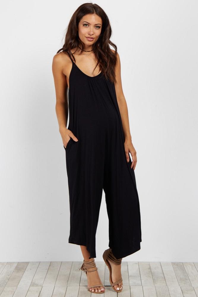 black basic wide leg jumpsuit eyxvuhl