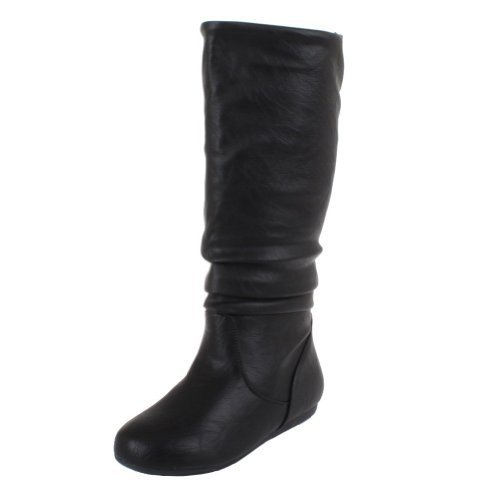 black boots for women top moda bank-31 mid calf knee high round toe slouch comfort casual flat hxqytxe