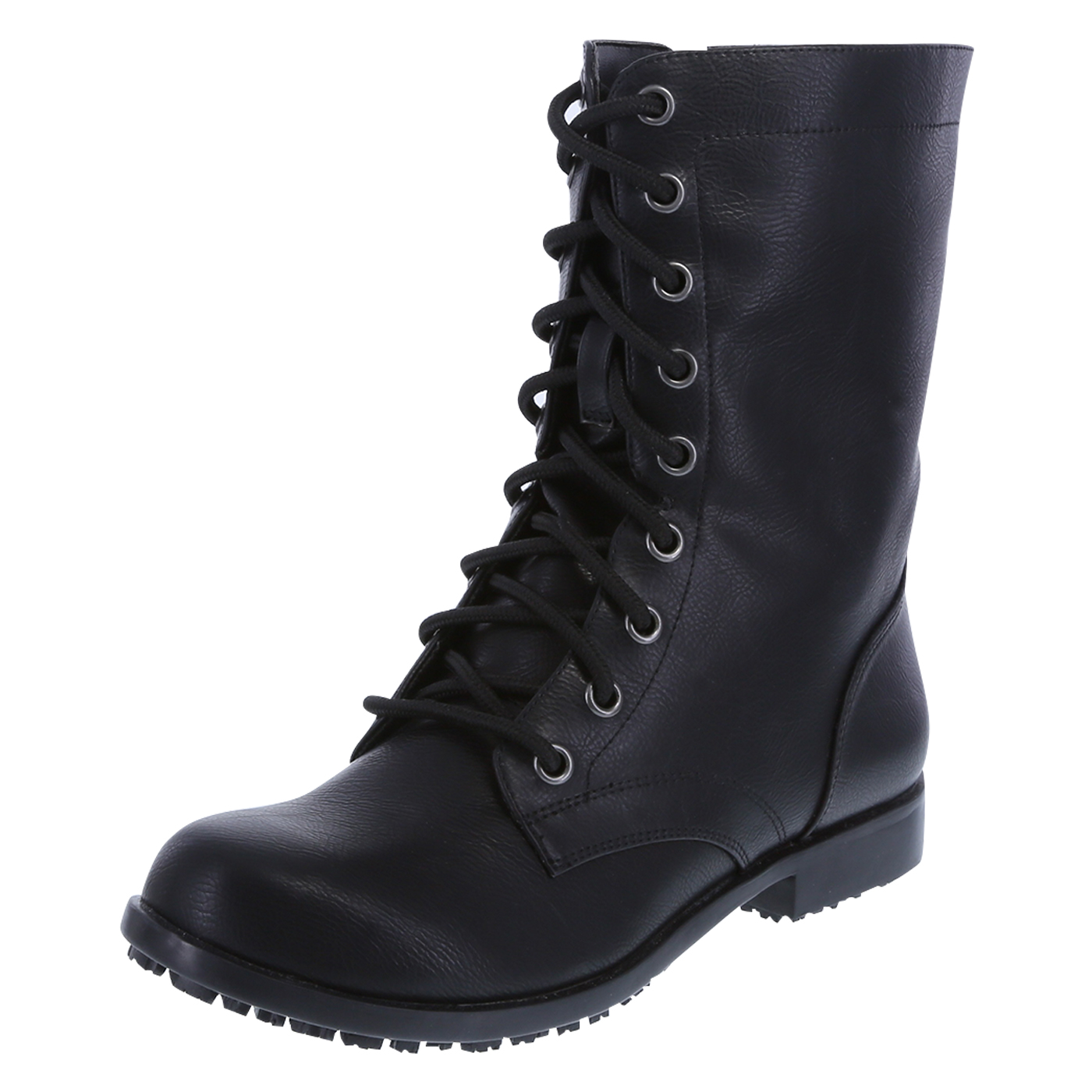 black boots for women womenu0026apos;s slip resistant brooke lace-up with zipper boots, black, hi pckjpxb