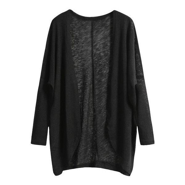 black cardigan shein(sheinside) black long sleeve loose knit cardigan ($12) ❤ liked on gybxlme