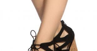 black faux suede cut out lace up cork wedges @ cicihot wedges shoes tcaagxp
