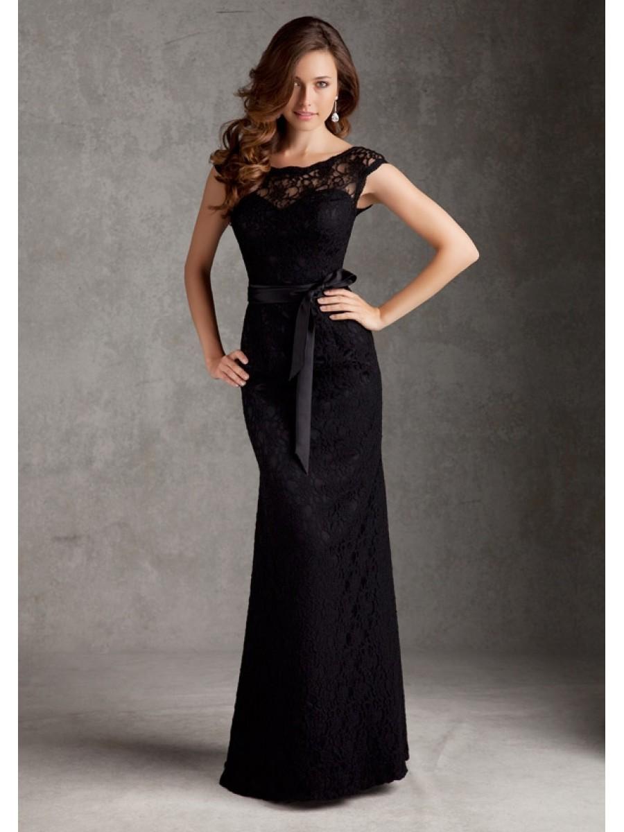 black lace floor length bridesmaid wedding party dresses 1105059 axighjf
