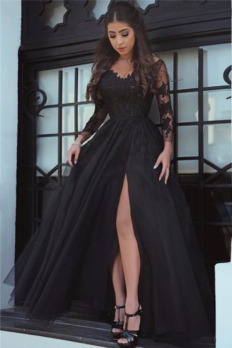 black prom dress glamorous long sleeve prom dress,black slit lace evening dress, sexy black  prom eesumku