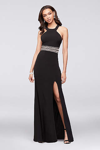 black prom dress long sheath halter mother and special guest dress - speechless qolyrsp