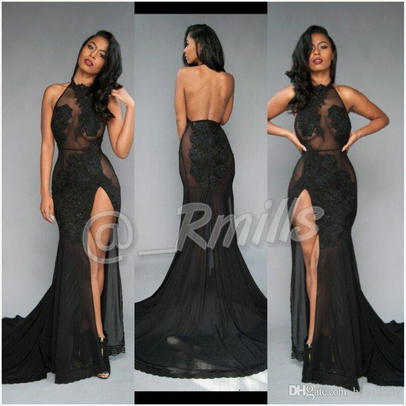 black prom dress open back sexy black prom dresses 2017 high thing split with vintage lace dwxbsut