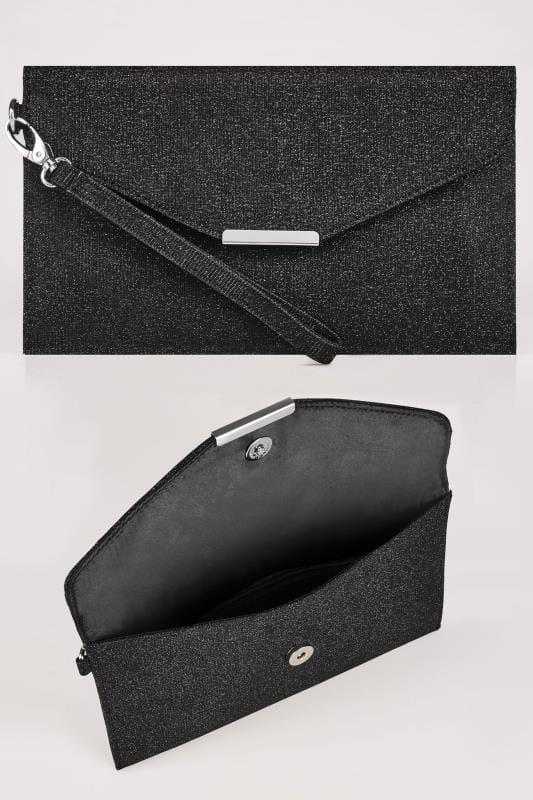 black shimmer envelope clutch bag wuwerku