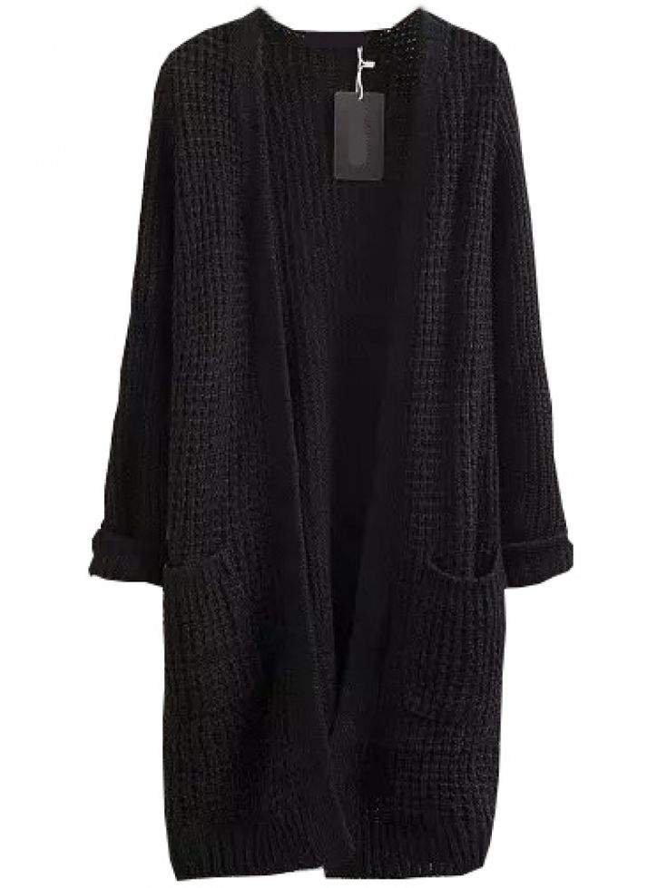 buy with pockets long black cardigan from abaday.com, free shipping  worldwide - cxuigck