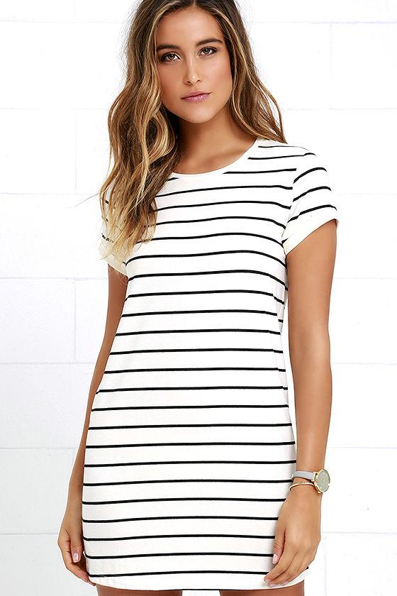 cafe society black and cream striped shirt dress 1 bkcgzpb