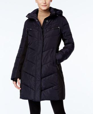 calvin klein hooded water-resistant puffer coat xsilvnh