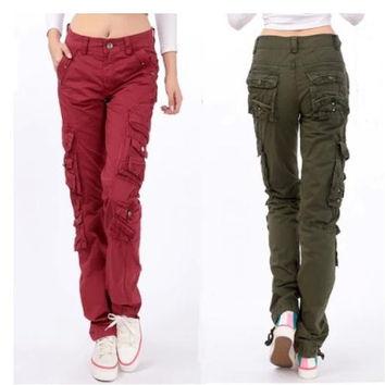 cargo pants for women 2015 new womenu0027s cotton cargo pants leisure trousers outdoor more pocket  pants dejgqyd