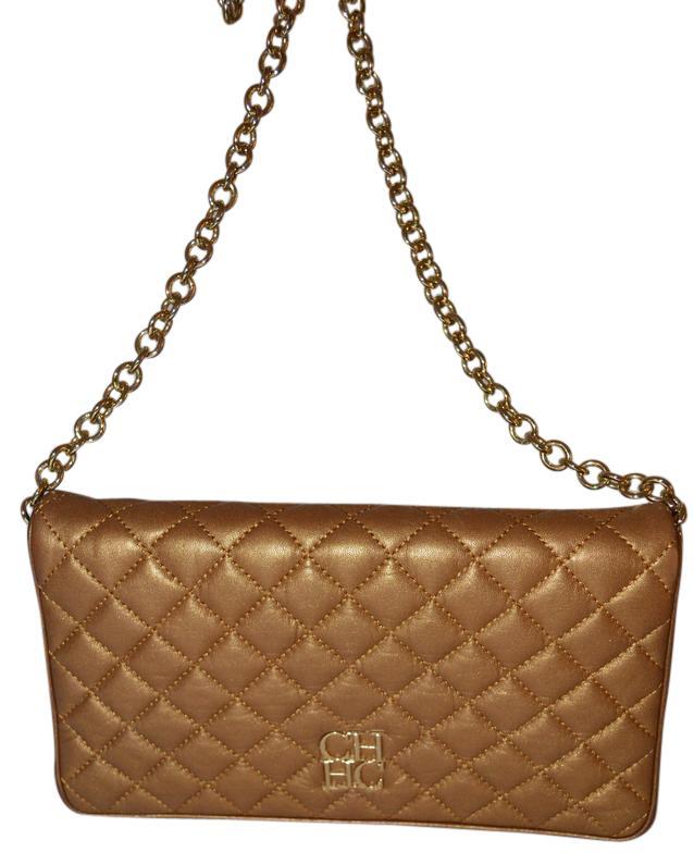carolina herrera handbags carolina herrera gold leather shoulder bag - tradesy vrgglfc