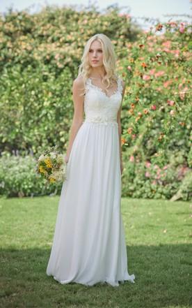 casual wedding dresses long chiffon lace weddig dress with beading flower ... iprofiy