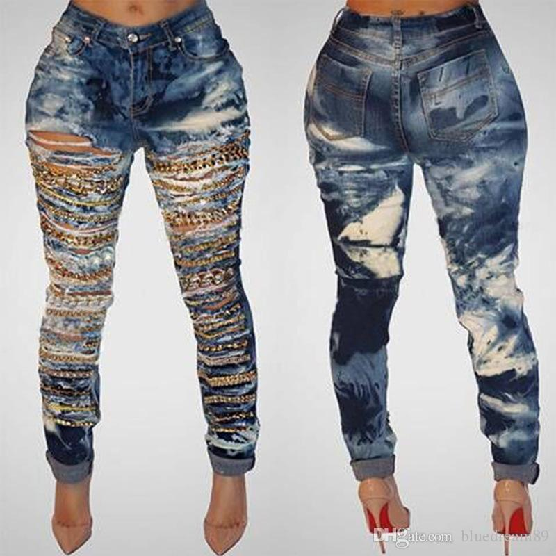 cave chain hole ripped jeans for women washed skinny jeans woman new denim cfgjlfk