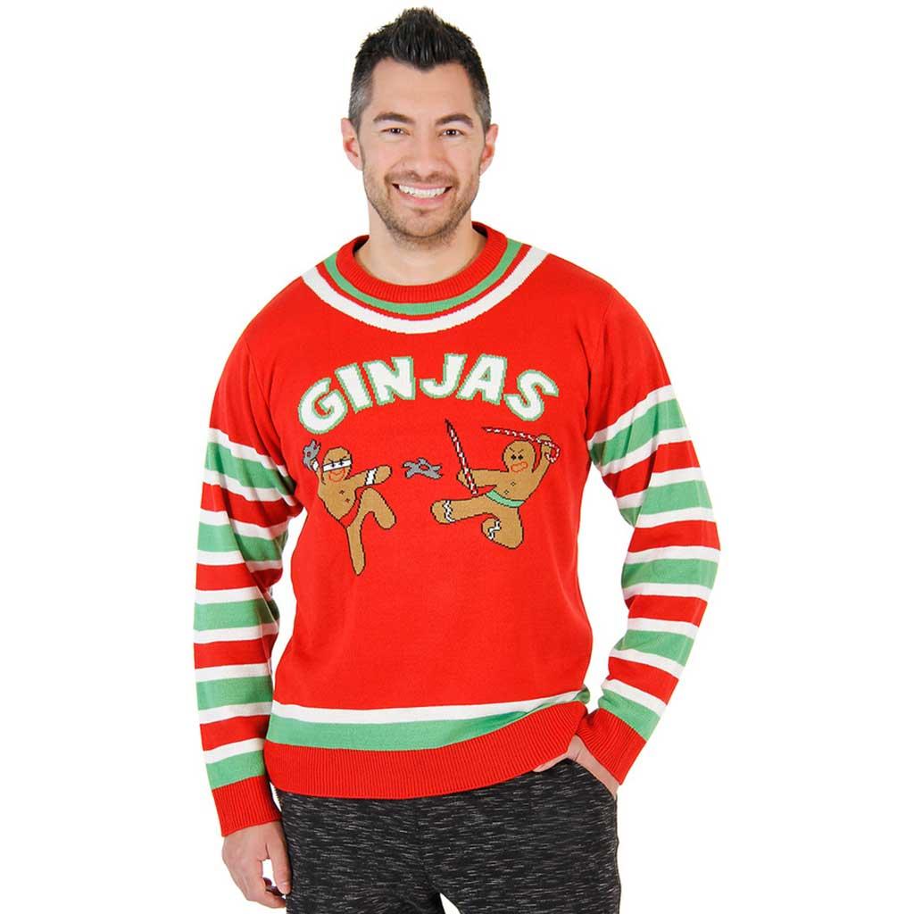 christmas sweaters fighting ginjas gingerbread ninjas funny christmas sweater iyjvskn