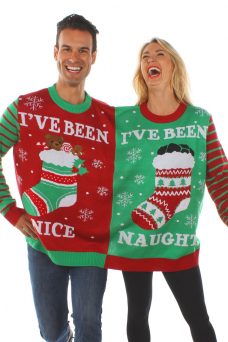 christmas sweaters naughty and nice two-person sweater dzxslos