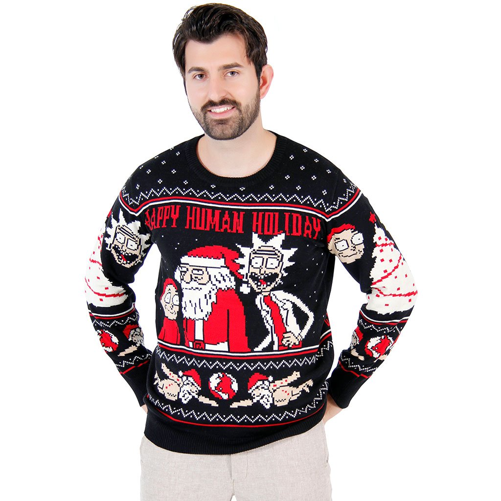 christmas sweaters rick and morty happy human holiday ugly christmas sweater bvfjotw