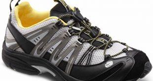 comfort shoes amazon.com   dr. comfort menu0027s performance black grey diabetic athletic  shoes   tqnvbmk