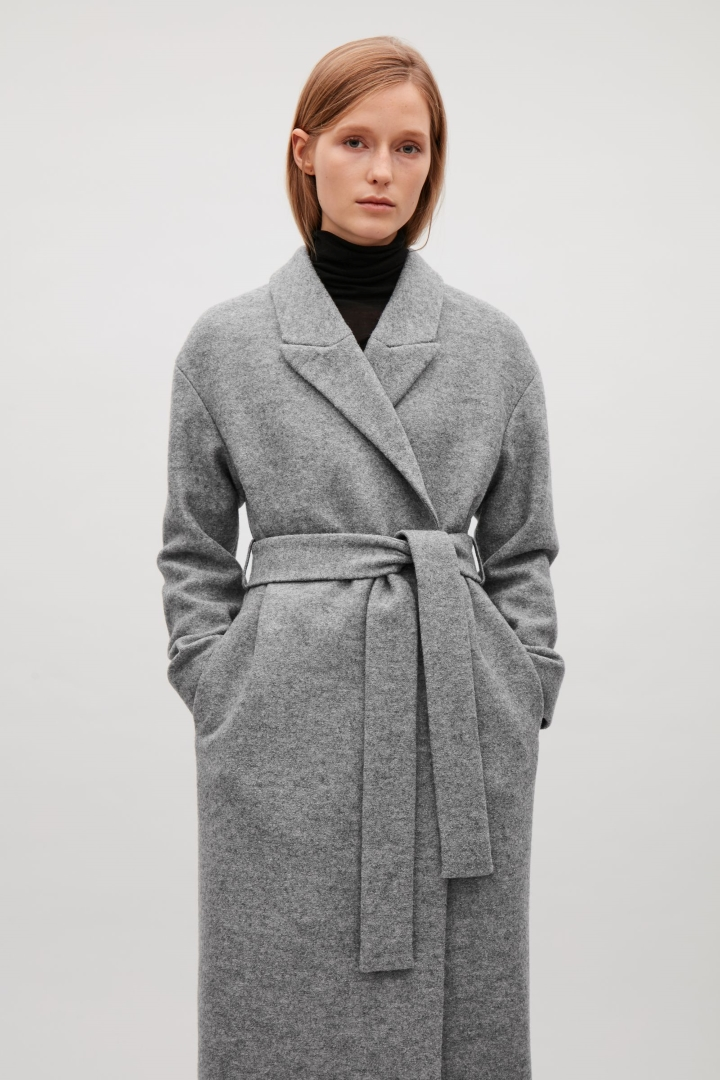 cos image 10 of belted wool coat in grey llsgnty