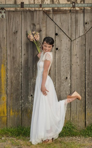 country wedding dresses a-line short sleeve lace and chiffon dress with illusion back ... vuqiskc
