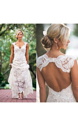 country wedding dresses country cap-sleeved v-neck long lace dress with keyhole back kjiodnq