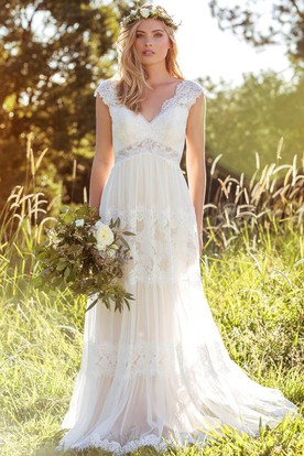 country wedding dresses v-neck long cap-sleeve appliqued laceu0026tulle wedding dress ... dioxfjr