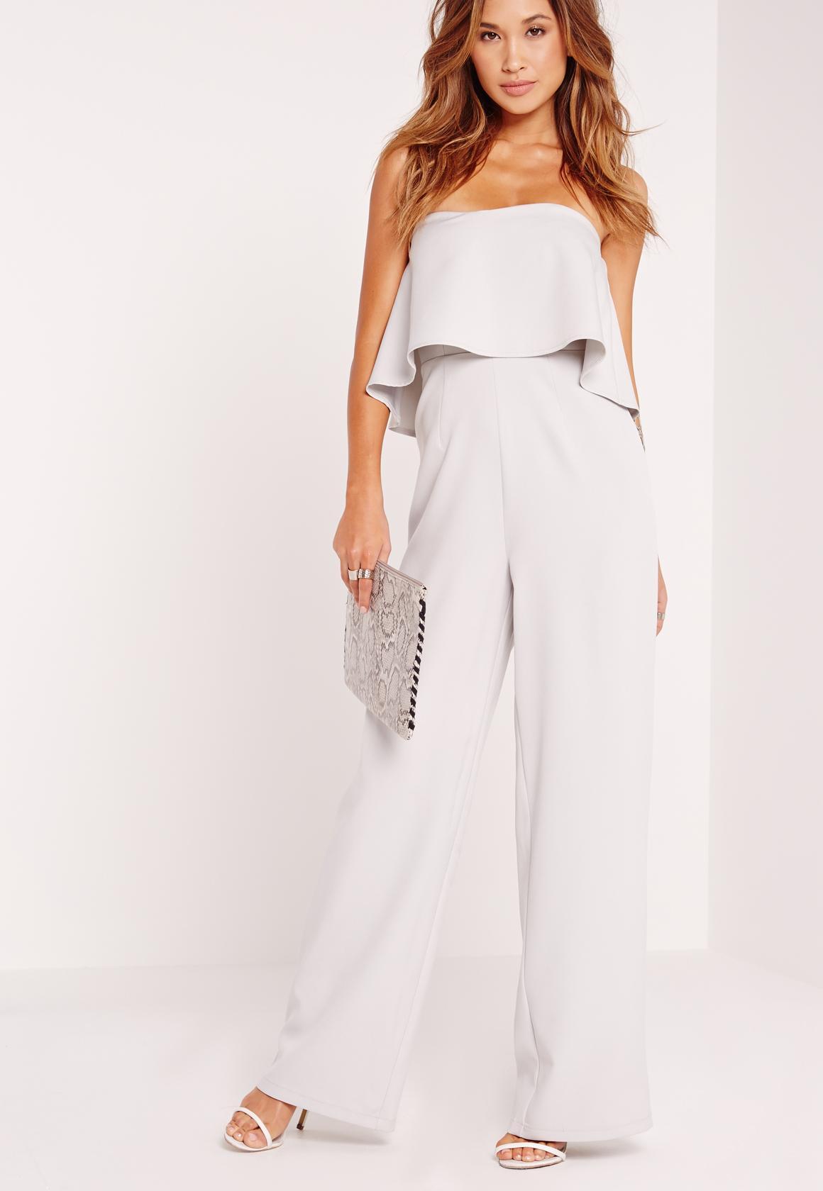 crepe frill wide leg jumpsuit grey bssjisd