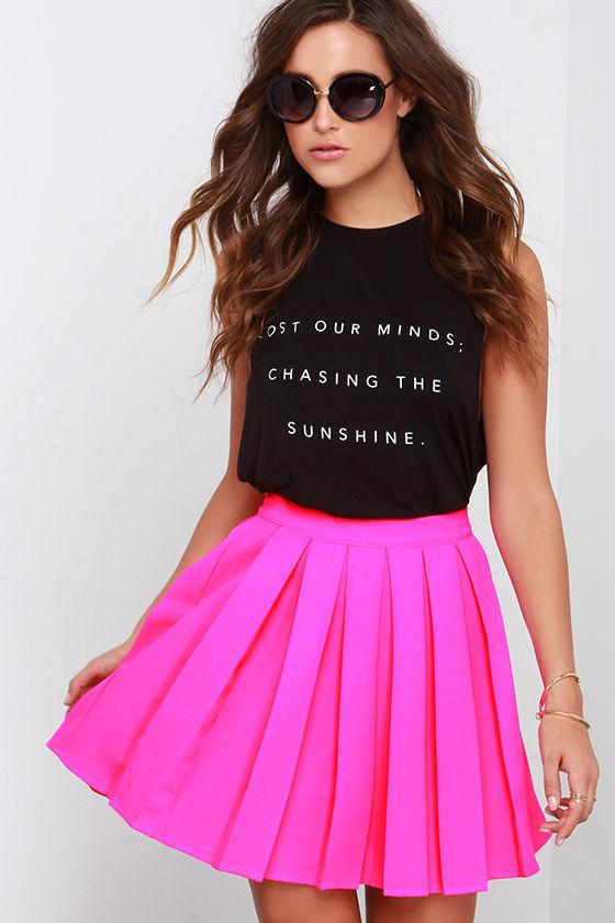 cute hot pink skirt - skater skirt - pleated skirt - $61.00 qmbrwja