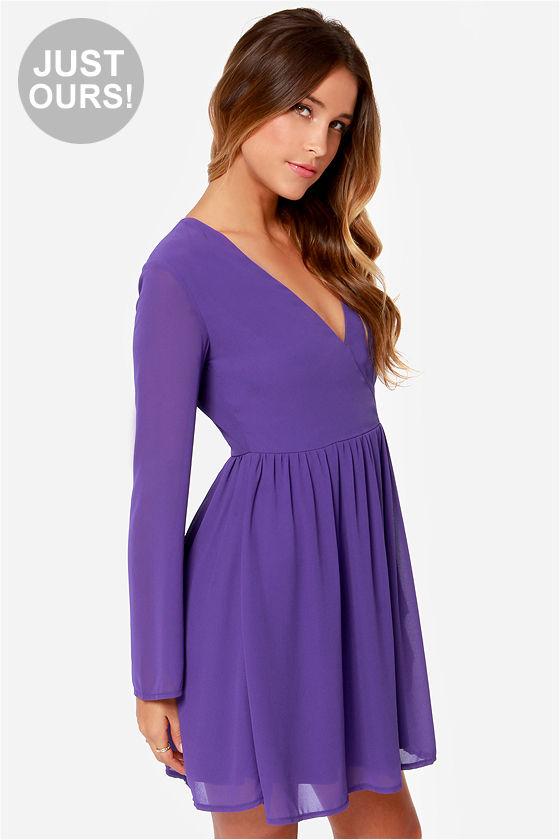 cute long sleeve dress - purple dress - wrap dress - $42.00 owxorvm