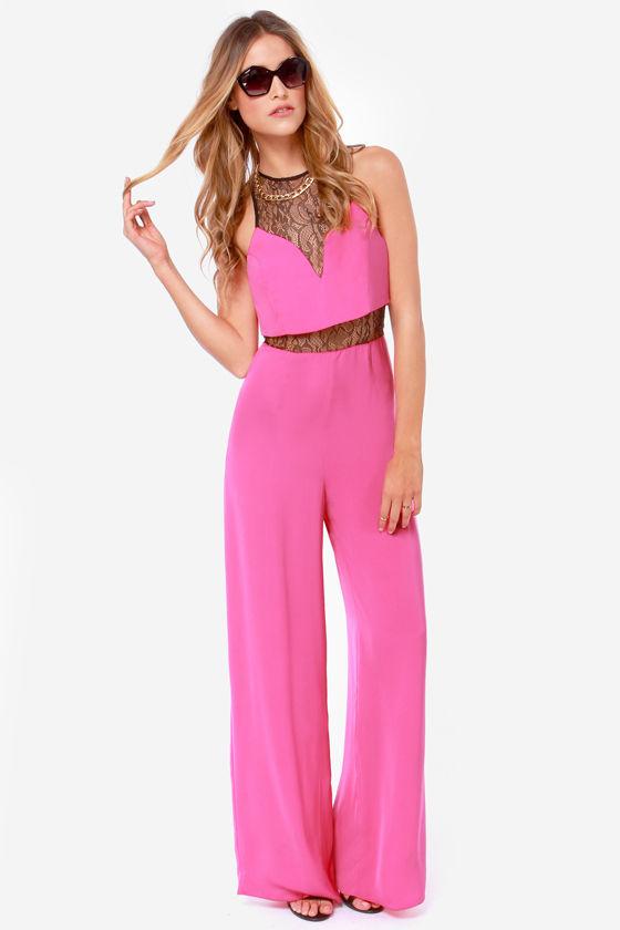cute pink jumpsuit - lace jumpsuit - wide-leg jumpsuit - $47.00 bxnbtea