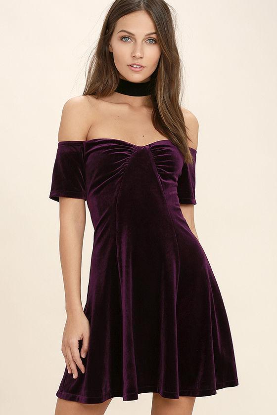 cute plum purple dress - velvet dress - off-the-shoulder dress - $46.00 ctoxujr