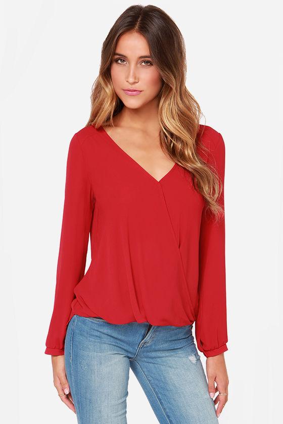 cute red blouse - long sleeve top - chiffon top - $33.00 noronqs
