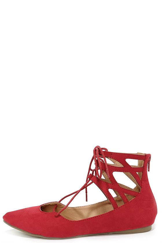 cute red flats - lace-up flats - cutout flats - $28.00 xmkfbgt