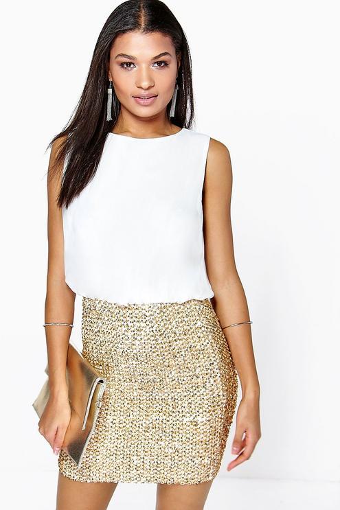delia 2 in 1 chiffon top sequin skirt bodycon dress svoszfb